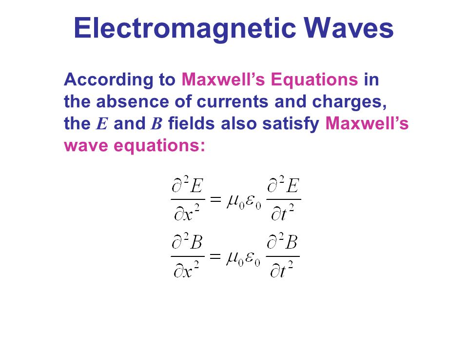 Electromagnetic Waves According to Maxwell's Equations in the absence of currents and charges, the E and B fields also satisfy Maxwell's wave equation