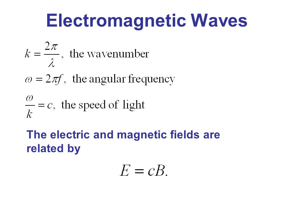 Electromagnetic Waves The electric and magnetic fields are related by