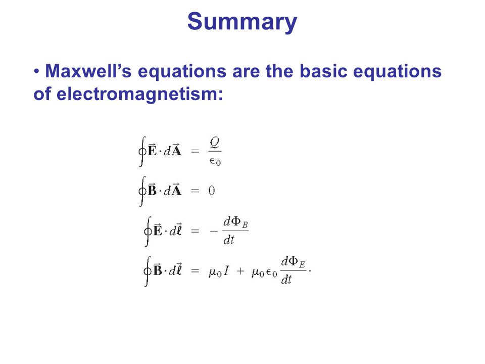 Maxwell's equations are the basic equations of electromagnetism: Summary