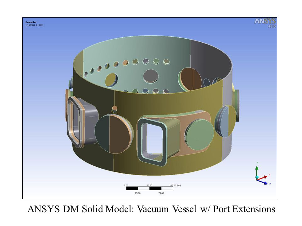 ANSYS DM Solid Model: Vacuum Vessel w/ Port Extensions