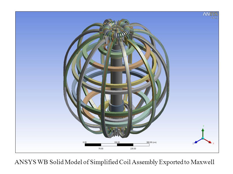 ANSYS WB Solid Model of Simplified Coil Assembly Exported to Maxwell