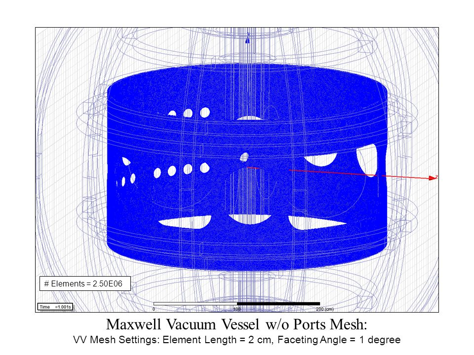 Maxwell Vacuum Vessel w/o Ports Mesh: VV Mesh Settings: Element Length = 2 cm, Faceting Angle = 1 degree # Elements = 2.50E06
