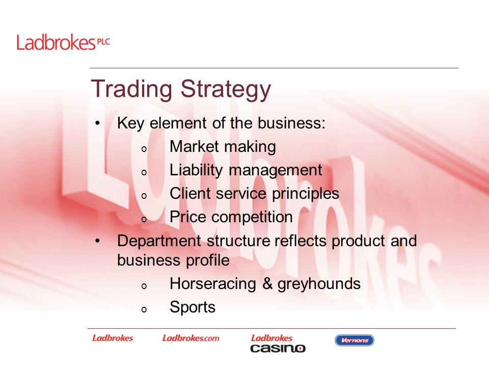 Trading Strategy Key element of the business: o Market making o Liability management o Client service principles o Price competition Department struct