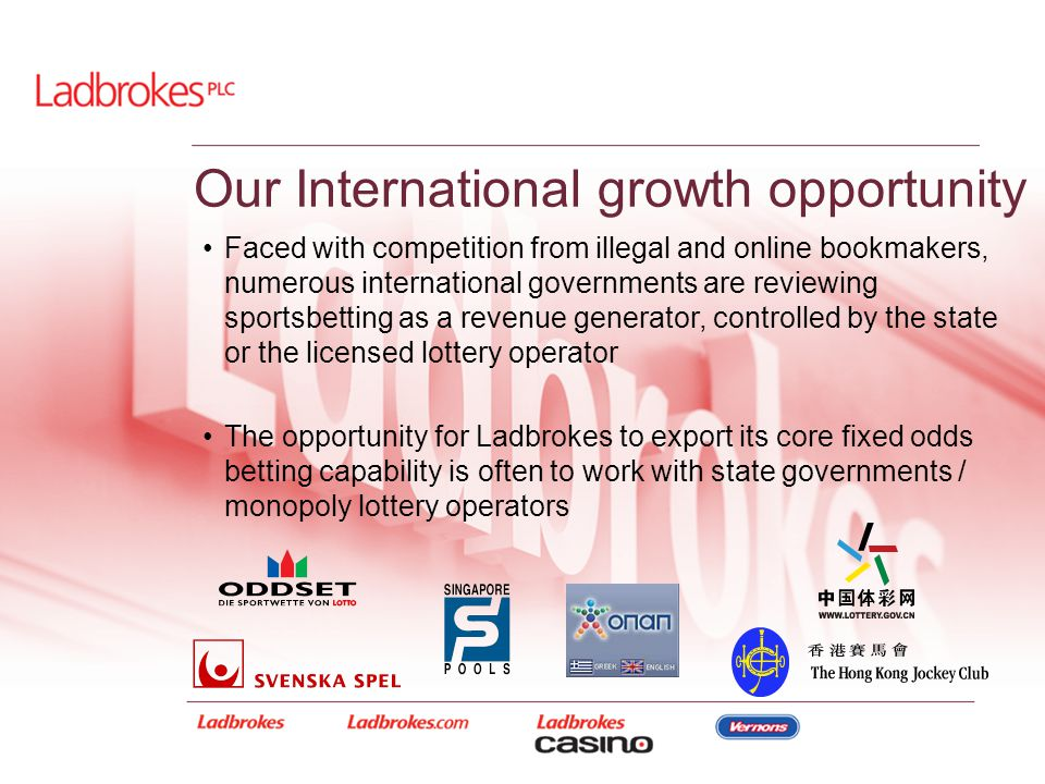 Our International growth opportunity Faced with competition from illegal and online bookmakers, numerous international governments are reviewing sport