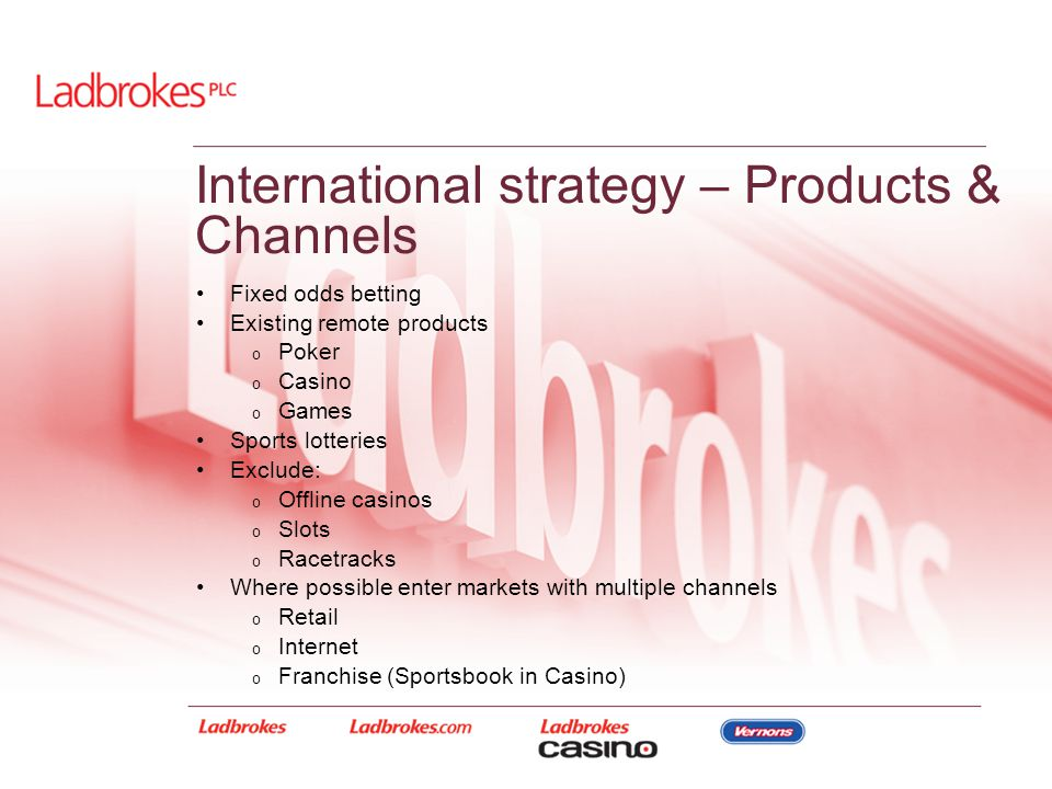 International strategy – Products & Channels Fixed odds betting Existing remote products o Poker o Casino o Games Sports lotteries Exclude: o Offline