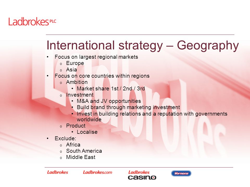 International strategy – Geography Focus on largest regional markets o Europe o Asia Focus on core countries within regions o Ambition Market share 1s