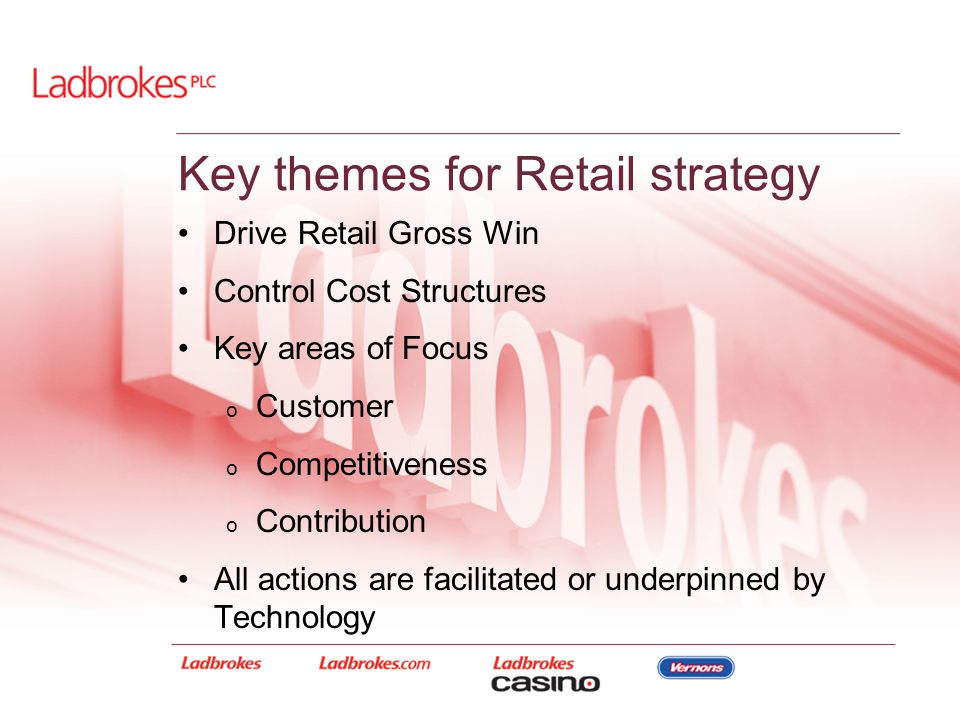 Drive Retail Gross Win Control Cost Structures Key areas of Focus o Customer o Competitiveness o Contribution All actions are facilitated or underpinn