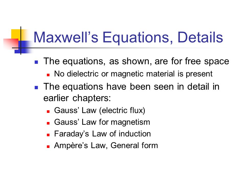 Maxwell's Equations, Details The equations, as shown, are for free space No dielectric or magnetic material is present The equations have been seen in