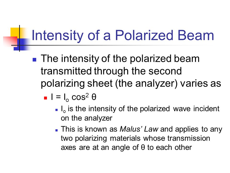Intensity of a Polarized Beam The intensity of the polarized beam transmitted through the second polarizing sheet (the analyzer) varies as I = I o cos