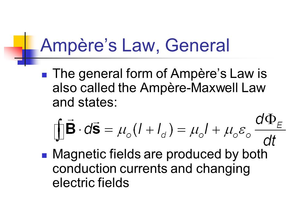 Ampère's Law, General The general form of Ampère's Law is also called the Ampère-Maxwell Law and states: Magnetic fields are produced by both conducti