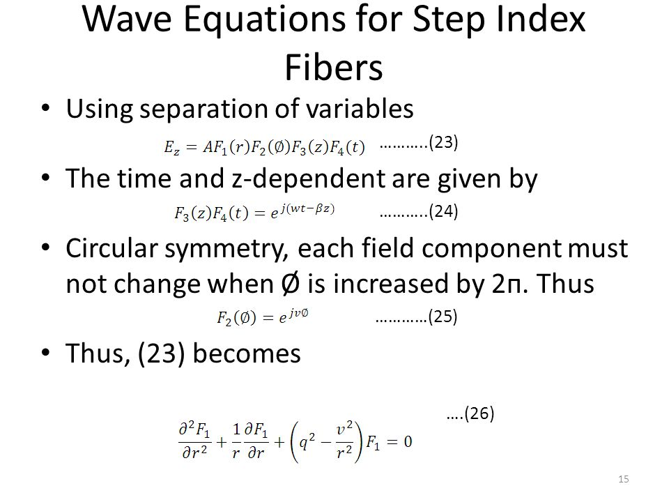 Wave Equations for Step Index Fibers Using separation of variables ………..(23) The time and z-dependent are given by ………..(24) Circular symmetry, each field component must not change when Ø is increased by 2п.