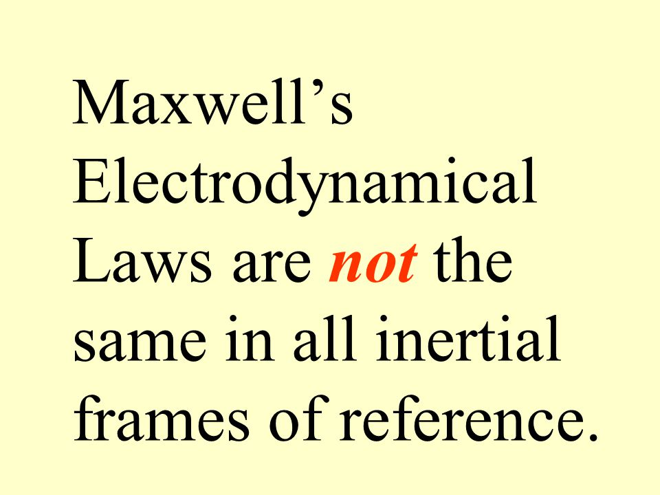 Maxwell's Electrodynamical Laws are not the same in all inertial frames of reference.