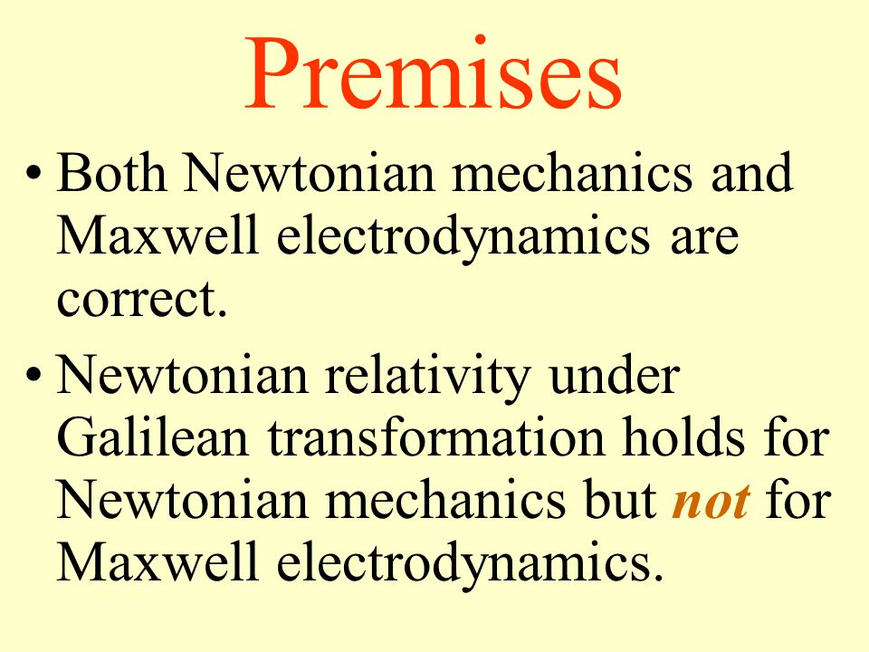 Premises Both Newtonian mechanics and Maxwell electrodynamics are correct.