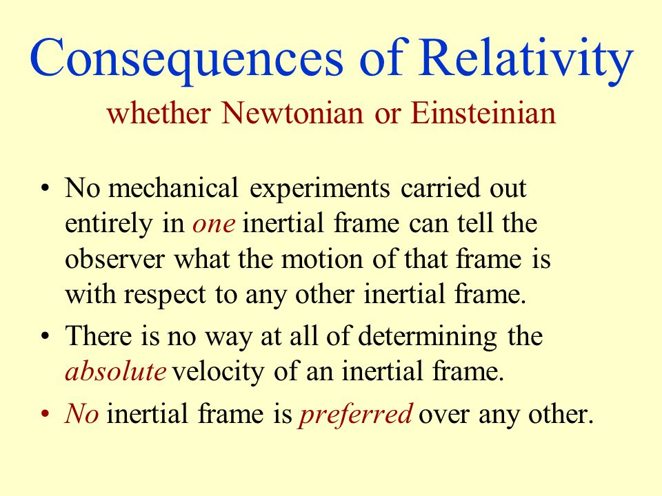 Consequences of Relativity No mechanical experiments carried out entirely in one inertial frame can tell the observer what the motion of that frame is with respect to any other inertial frame.