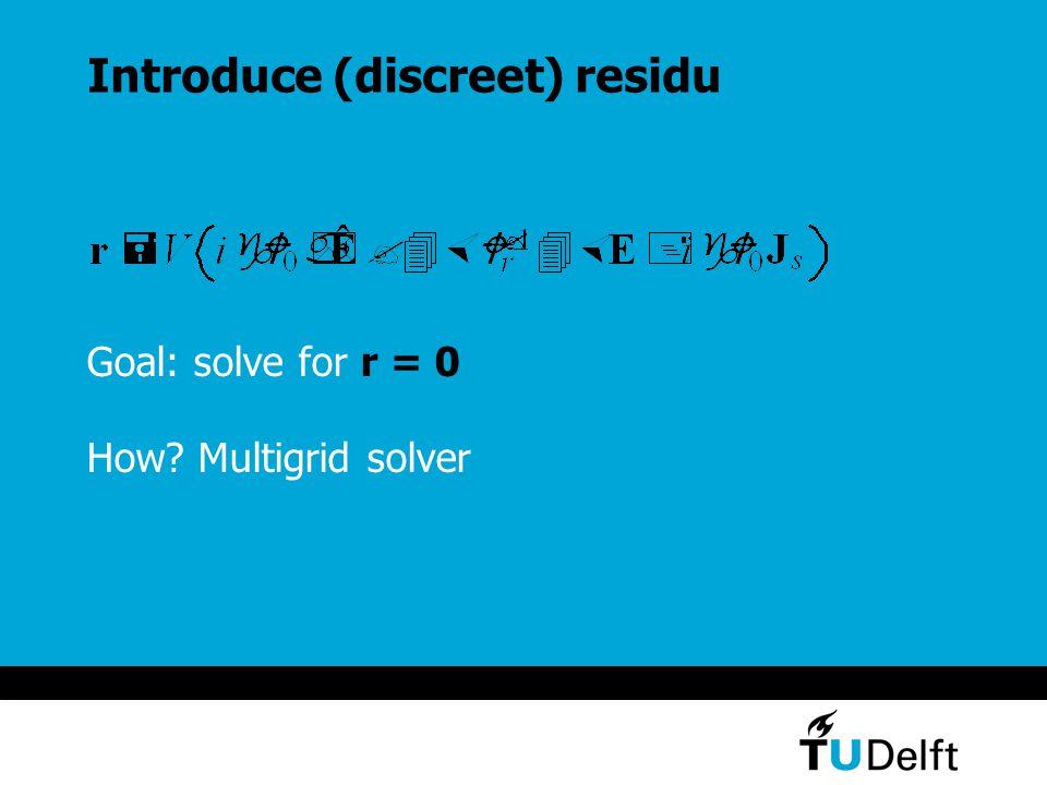 Introduce (discreet) residu Goal: solve for r = 0 How Multigrid solver