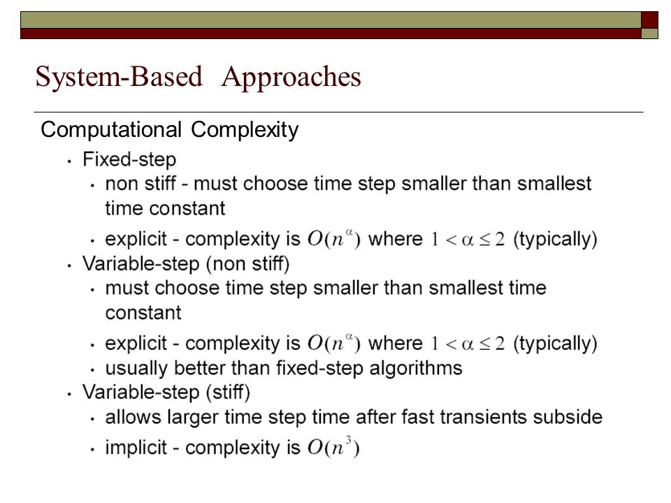 System-Based Approaches Computational Complexity