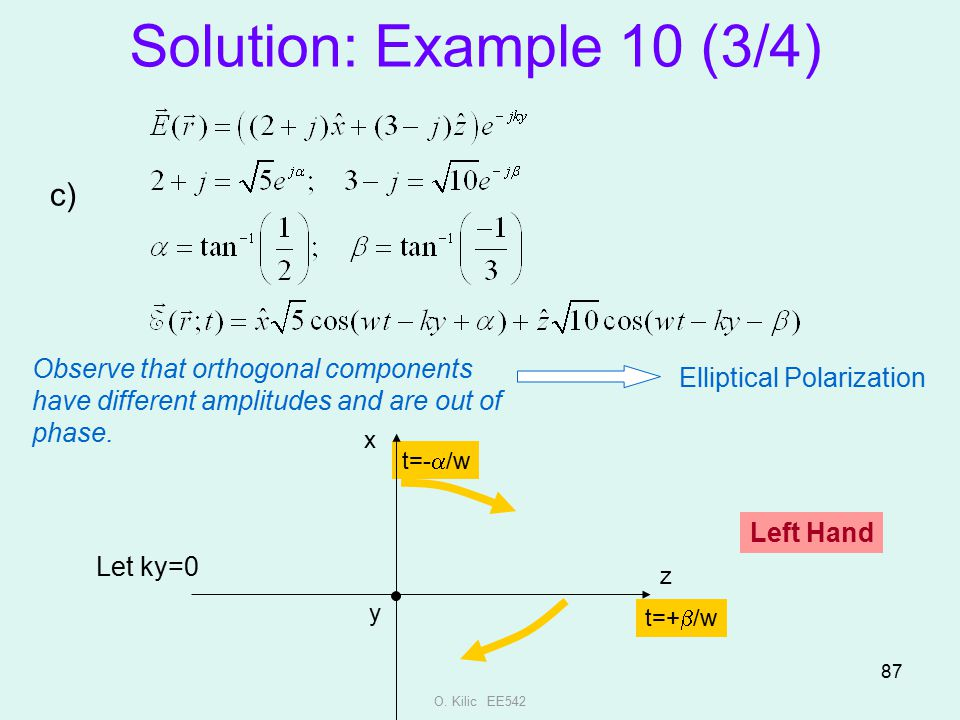 O. Kilic EE542 87 Solution: Example 10 (3/4) c) Observe that orthogonal components have different amplitudes and are out of phase. Elliptical Polariza