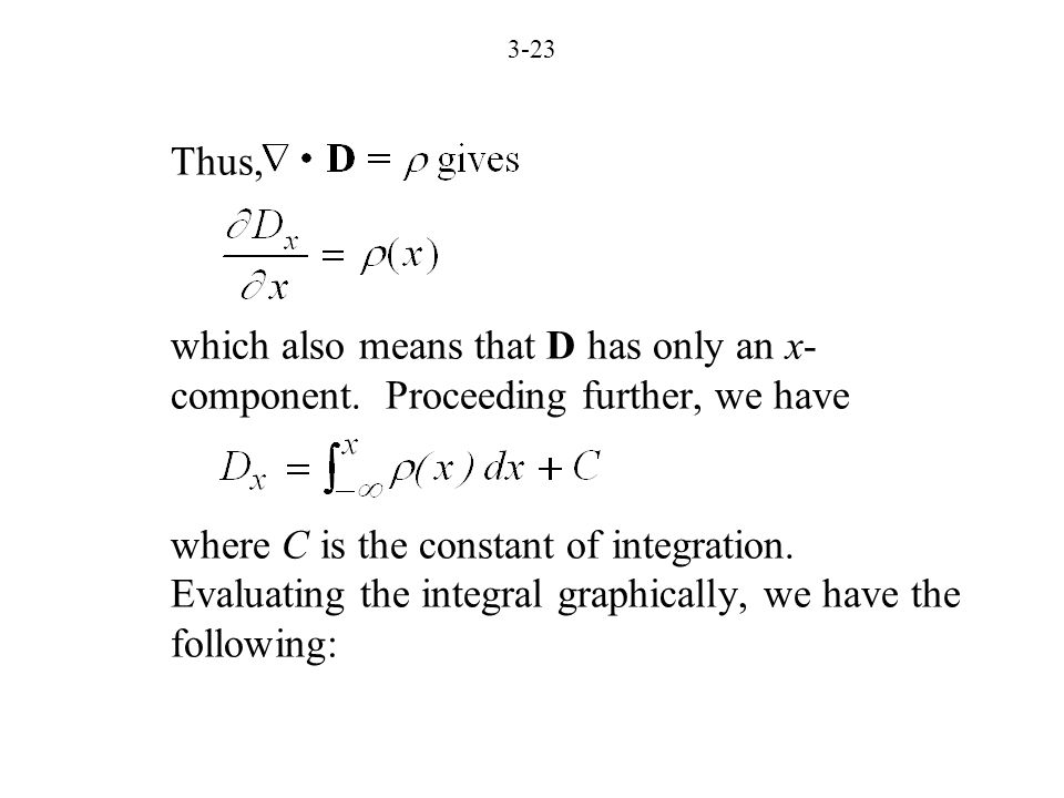 3-23 Thus, which also means that D has only an x- component.