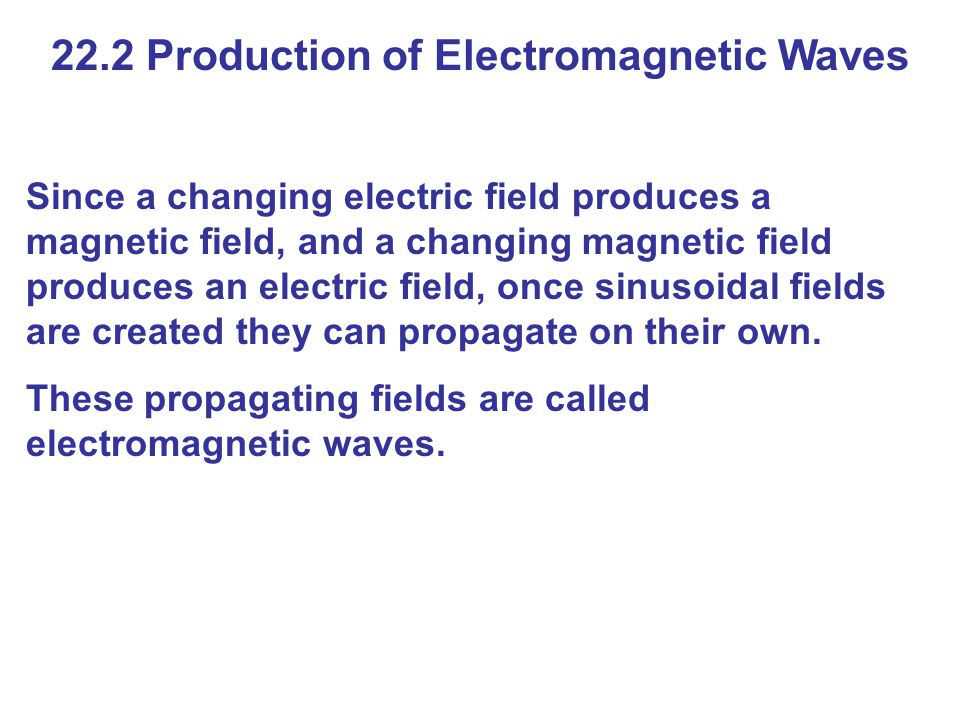 22.2 Production of Electromagnetic Waves Since a changing electric field produces a magnetic field, and a changing magnetic field produces an electric field, once sinusoidal fields are created they can propagate on their own.