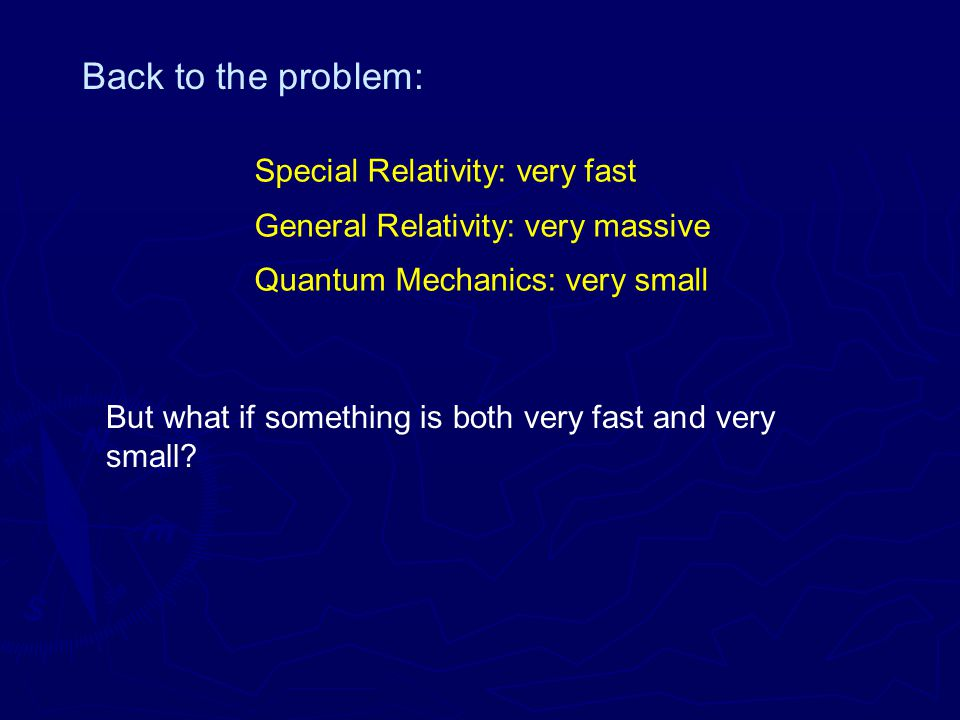 Back to the problem: Special Relativity: very fast General Relativity: very massive Quantum Mechanics: very small But what if something is both very fast and very small