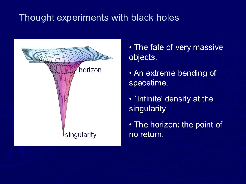 Thought experiments with black holes singularity horizon The fate of very massive objects.