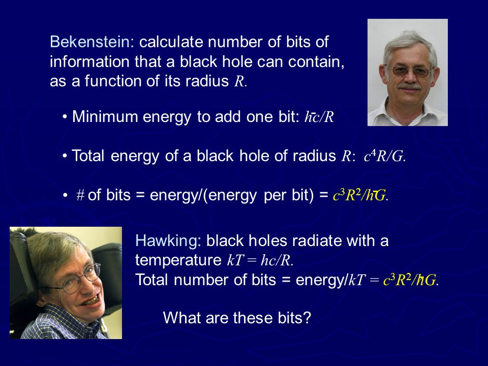 Bekenstein: calculate number of bits of information that a black hole can contain, as a function of its radius R.