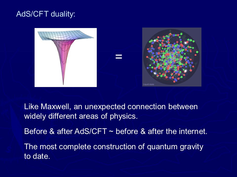 AdS/CFT duality: = Like Maxwell, an unexpected connection between widely different areas of physics.