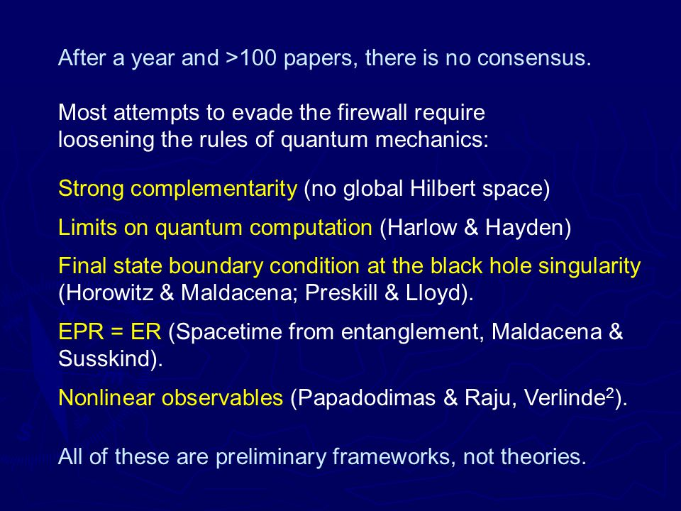 After a year and >100 papers, there is no consensus.