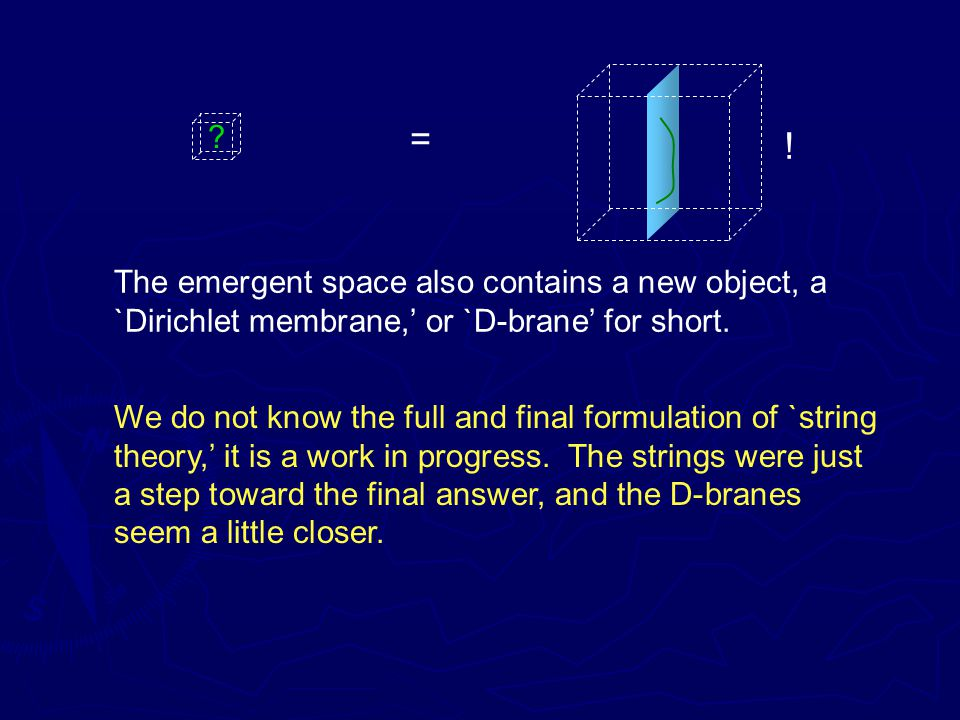 = . The emergent space also contains a new object, a `Dirichlet membrane,' or `D-brane' for short.