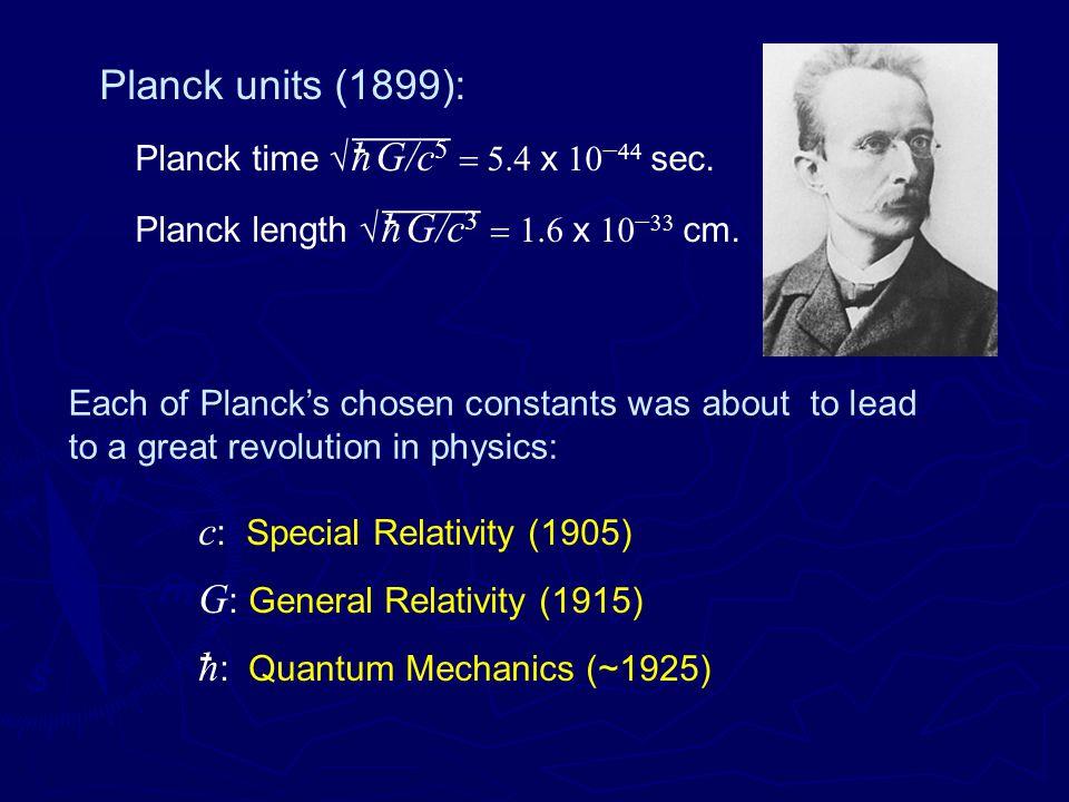 Planck time √ h G/c 5  x     sec. Planck length √ h G/c 3  x     cm.