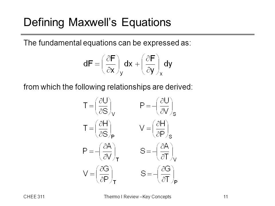 CHEE 311Thermo I Review –Key Concepts11 Defining Maxwell's Equations The fundamental equations can be expressed as: from which the following relationships are derived: