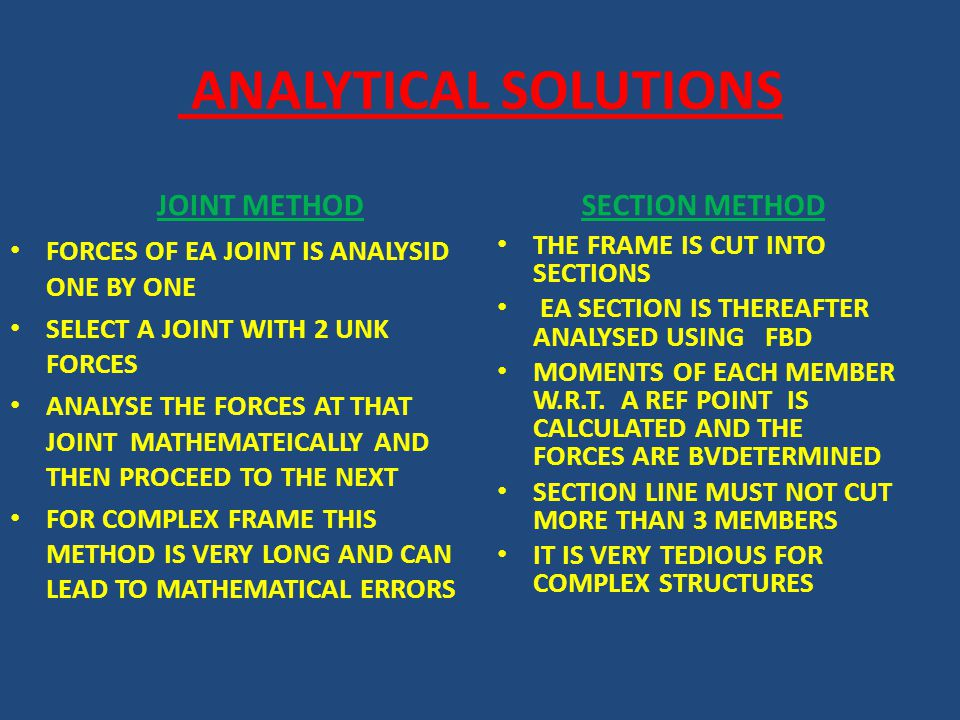 ANALYTICAL SOLUTIONS JOINT METHOD FORCES OF EA JOINT IS ANALYSID ONE BY ONE SELECT A JOINT WITH 2 UNK FORCES ANALYSE THE FORCES AT THAT JOINT MATHEMAT