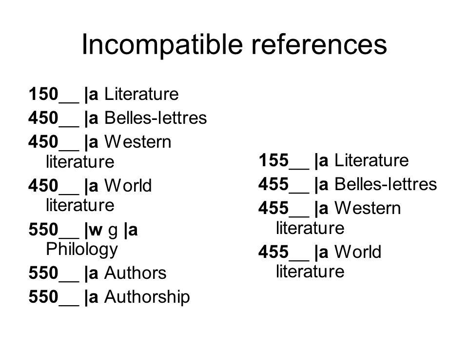 Incompatible references 150__ |a Literature 450__ |a Belles-lettres 450__ |a Western literature 450__ |a World literature 550__ |w g |a Philology 550__ |a Authors 550__ |a Authorship 155__ |a Literature 455__ |a Belles-lettres 455__ |a Western literature 455__ |a World literature