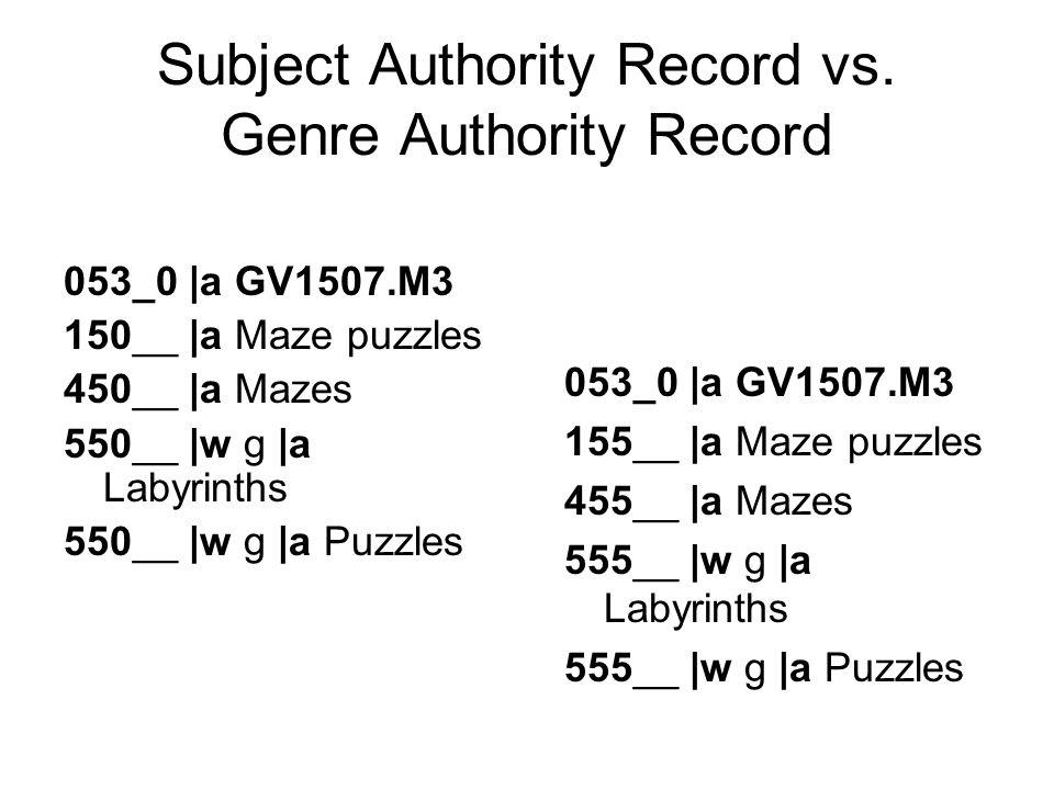 Subject Authority Record vs.