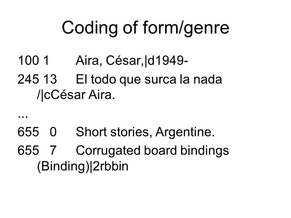Coding of form/genre 100 1Aira, César,|d1949- 245 13El todo que surca la nada /|cCésar Aira.... 655 0Short stories, Argentine. 655 7Corrugated board b