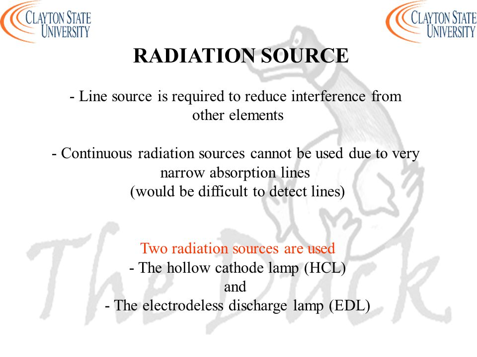 - Line source is required to reduce interference from other elements - Continuous radiation sources cannot be used due to very narrow absorption lines