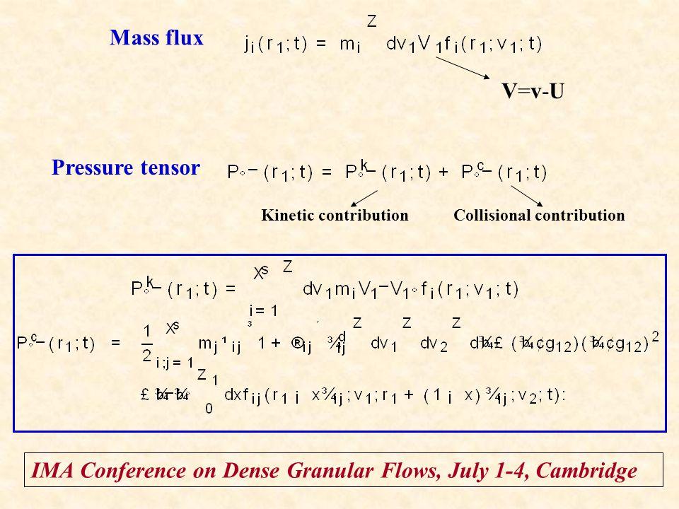 IMA Conference on Dense Granular Flows, July 1-4, Cambridge Mass flux V=v-UV=v-U Pressure tensor Kinetic contributionCollisional contribution