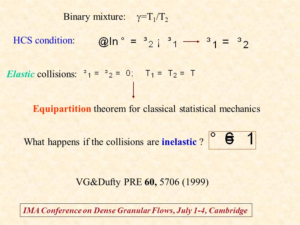 IMA Conference on Dense Granular Flows, July 1-4, Cambridge HCS condition: Elastic collisions: Equipartition theorem for classical statistical mechani