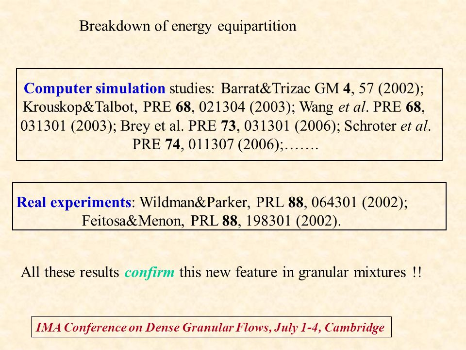 IMA Conference on Dense Granular Flows, July 1-4, Cambridge Breakdown of energy equipartition Computer simulation studies: Barrat&Trizac GM 4, 57 (200