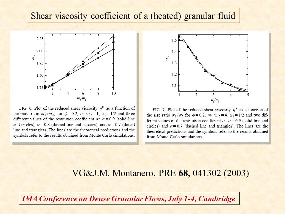 IMA Conference on Dense Granular Flows, July 1-4, Cambridge Shear viscosity coefficient of a (heated) granular fluid VG&J.M. Montanero, PRE 68, 041302