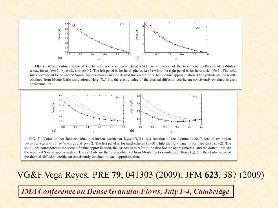 IMA Conference on Dense Granular Flows, July 1-4, Cambridge VG&F.Vega Reyes, PRE 79, 041303 (2009); JFM 623, 387 (2009)