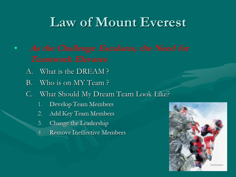 Law of Mount Everest As the Challenge Escalates, the Need for Teamwork Elevates A.What is the DREAM ? B.Who is on MY Team ? C.What Should My Dream Tea