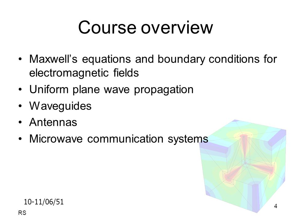 10-11/06/51 RS 4 Course overview Maxwell's equations and boundary conditions for electromagnetic fields Uniform plane wave propagation Waveguides Antennas Microwave communication systems
