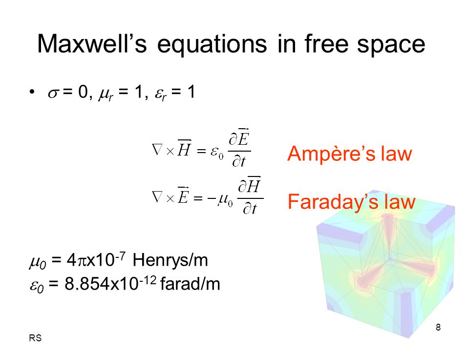 RS 8 Maxwell's equations in free space  = 0,  r = 1,  r = 1  0 = 4  x10 -7 Henrys/m  0 = 8.854x10 -12 farad/m Ampère's law Faraday's law