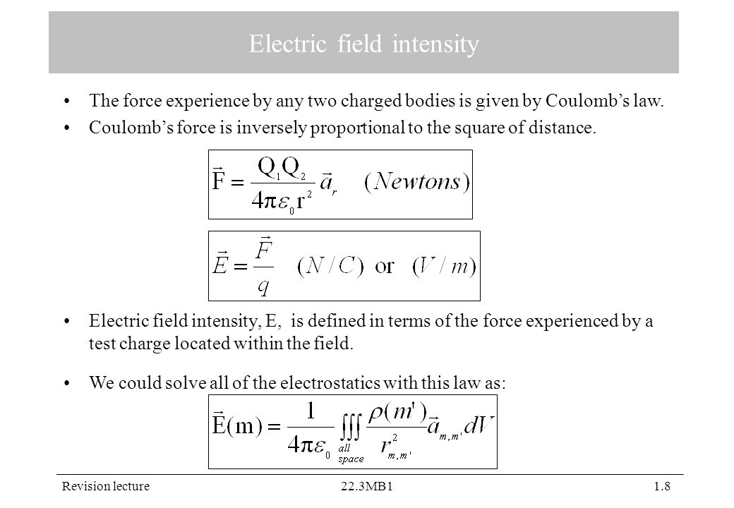 Revision lecture22.3MB11.8 Electric field intensity Electric field intensity, E, is defined in terms of the force experienced by a test charge located