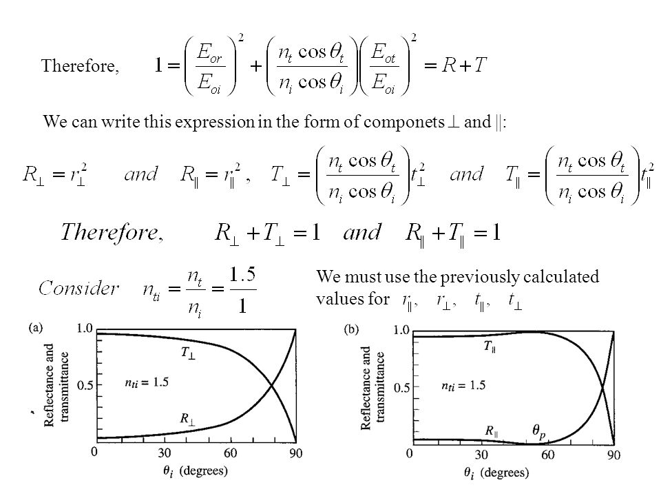 Therefore, We can write this expression in the form of componets  and ||: We must use the previously calculated values for