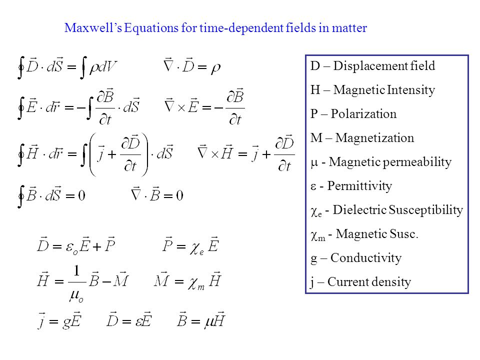 Maxwell's Equations for time-dependent fields in matter D – Displacement field H – Magnetic Intensity P – Polarization M – Magnetization  - Magnetic permeability  - Permittivity  e - Dielectric Susceptibility  m - Magnetic Susc.
