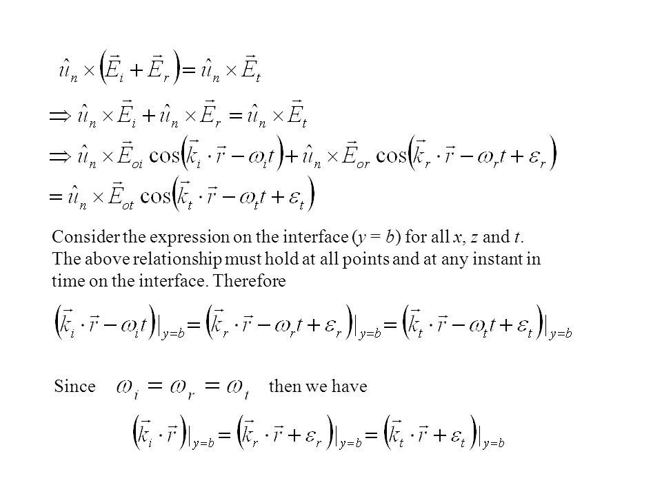 Consider the expression on the interface (y = b) for all x, z and t.