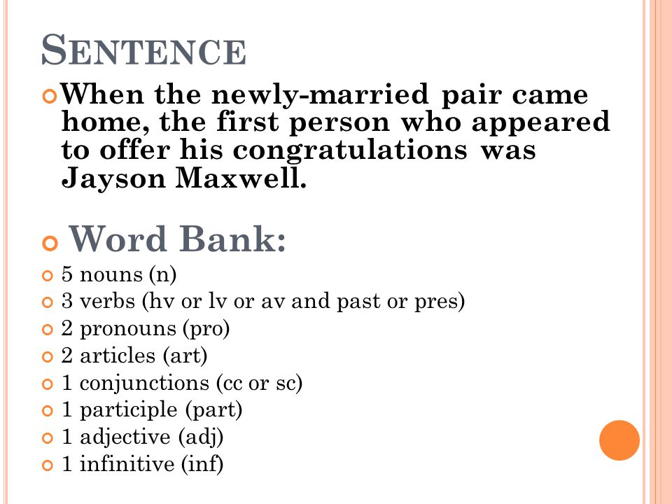 S ENTENCE When the newly-married pair came home, the first person who appeared to offer his congratulations was Jayson Maxwell. Word Bank: 5 nouns (n)