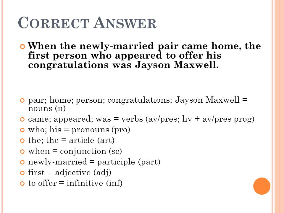 C ORRECT A NSWER When the newly-married pair came home, the first person who appeared to offer his congratulations was Jayson Maxwell. pair; home; per